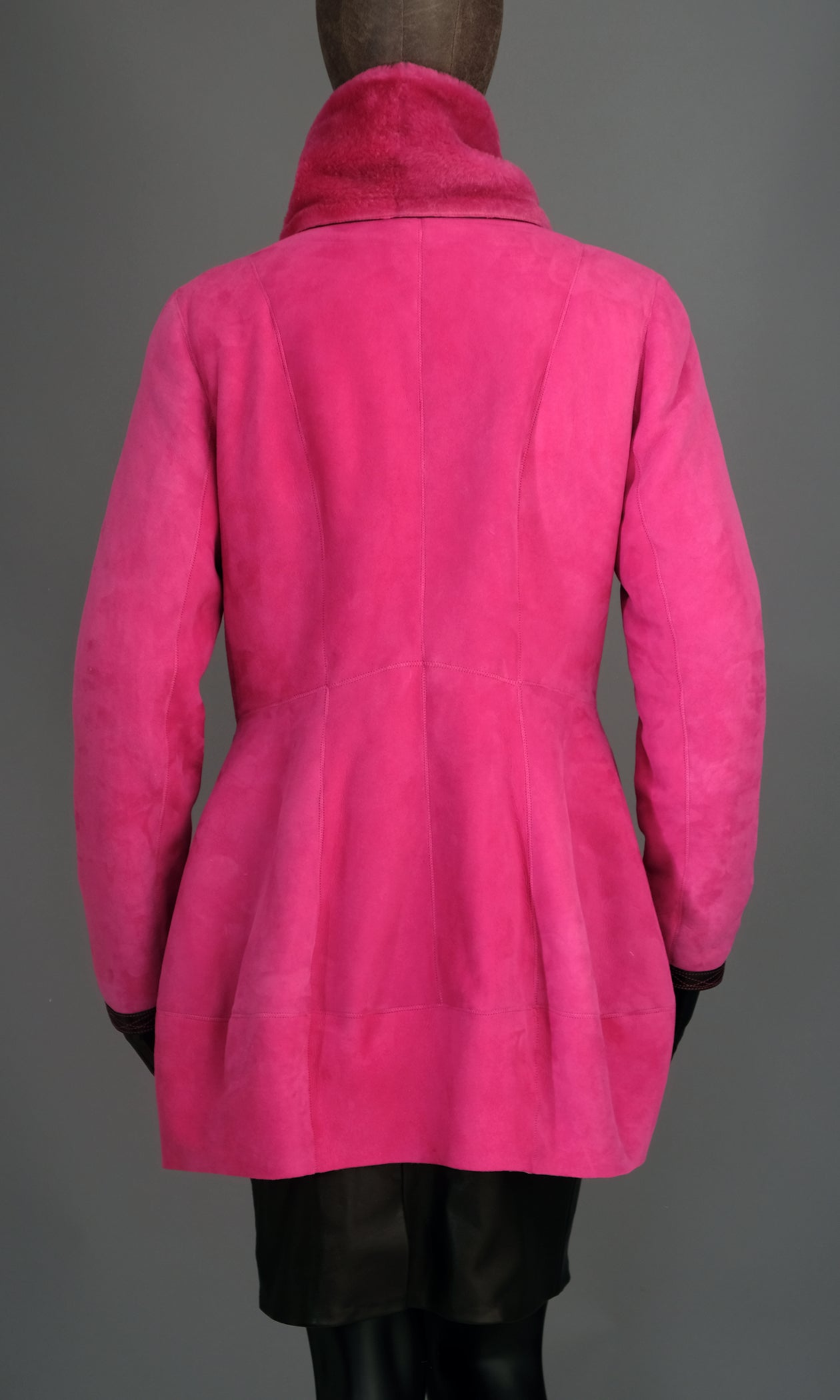 Pink Shearling Inverted Peplum Jacket size medium.jpg