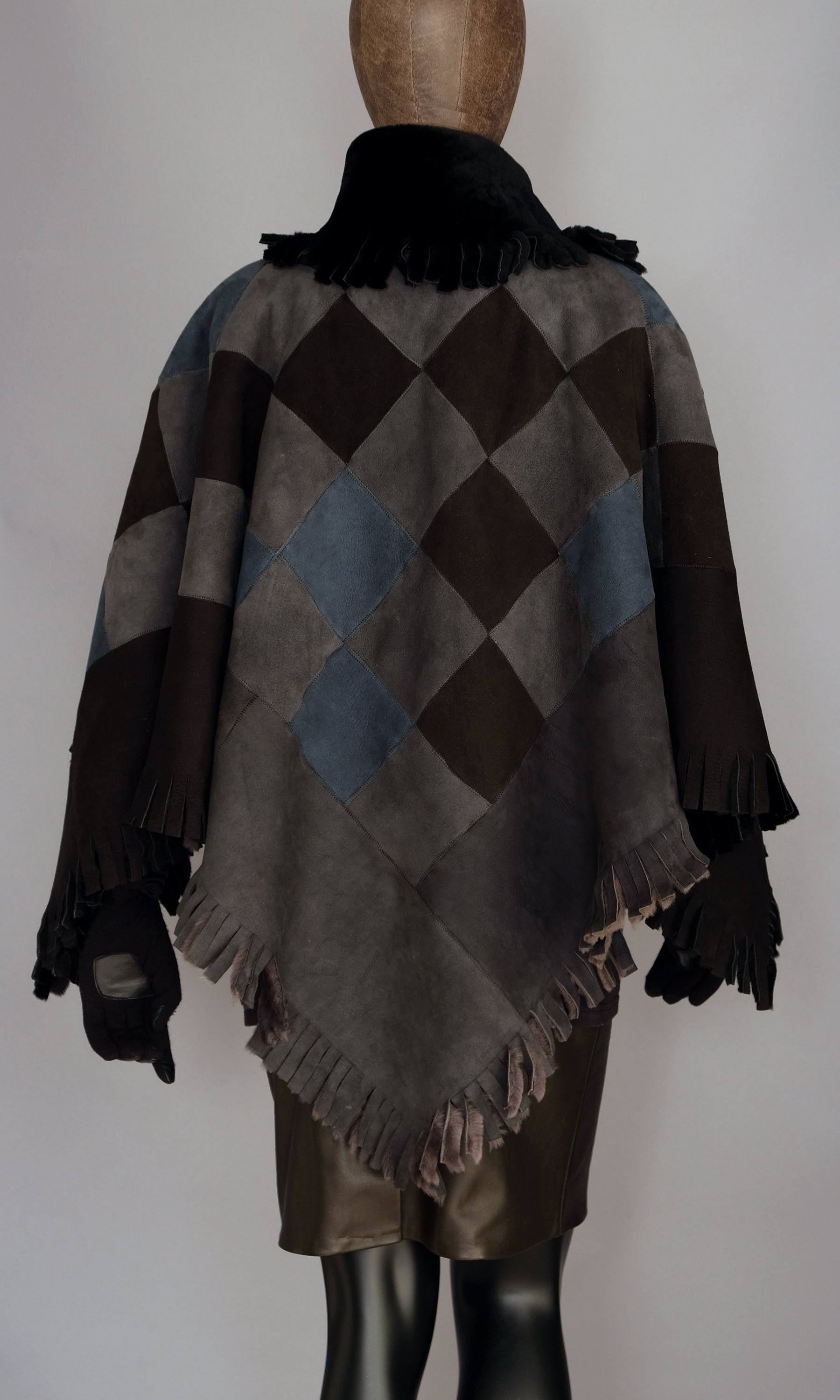 Blue Grey Shearling Poncho / Cape Lucky Size