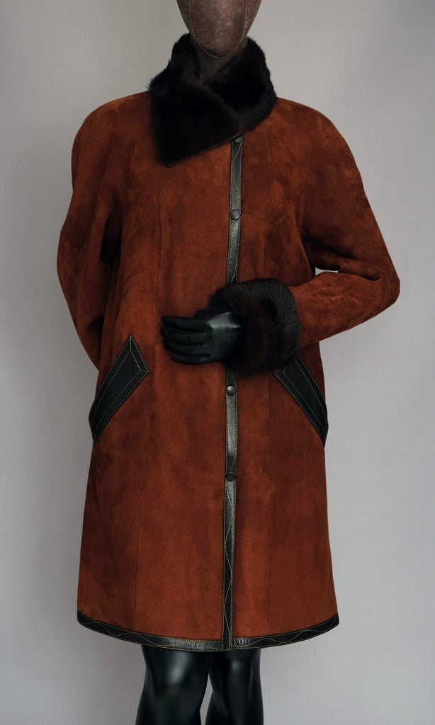Cappuccino Brown Shearling Swing Coat size L