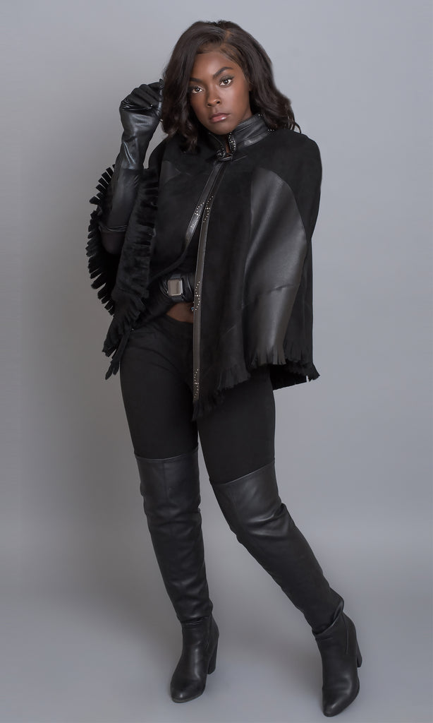 black merino shearling cape one of a kind