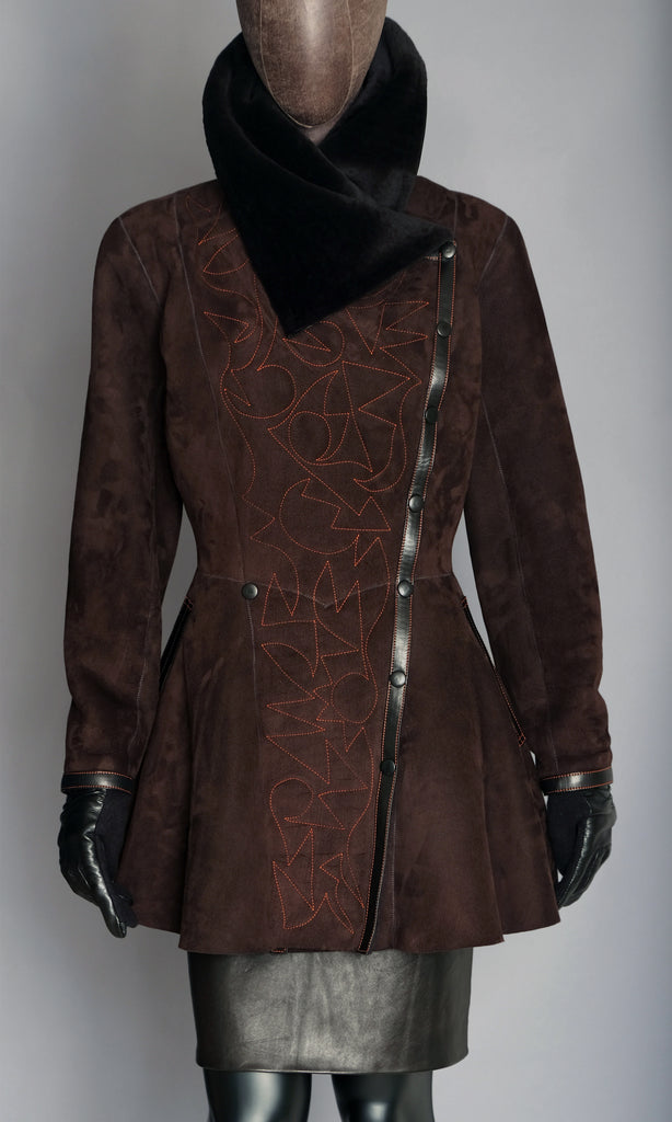 Ebony brown shearling jacket with decorative stitching size medium 10