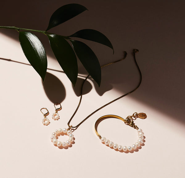 STILL LIFE | MoonRox FW20 - Illuminated Necklace, Bracelet and Earrings with freshwater pearl and brass