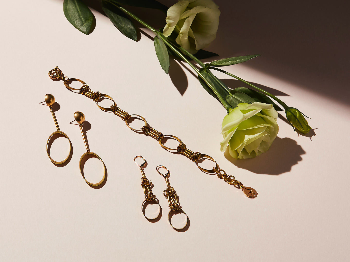 STILL LIFE | MoonRox Jewellery & Accessories Collection for Fall/Winter 2020. Muse Bracelet, Stud Earrings and Earrings with brass ovals and rods.