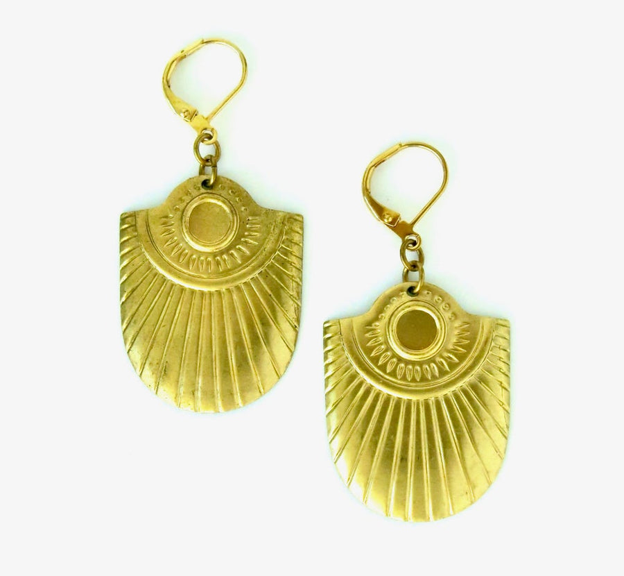 Allure Earring by MoonRox Jewellery & Accessories - brass charm earrings with radiant etched design.