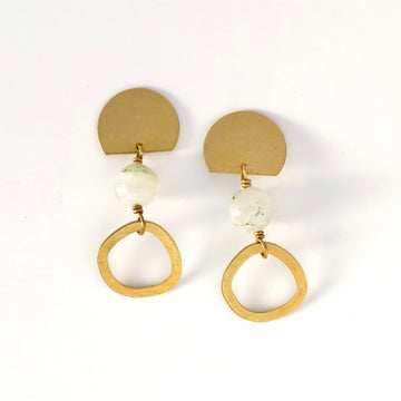 Archipelago Stud Earrings with rounded brass forms and moonstone beads.