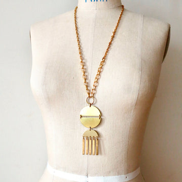 Aten Necklace by MoonRox Jewellery & Accessories - statement long necklace with radiant sun brass pendant