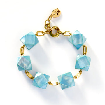 Azzurra Bracelet with blue faceted beads made from mother of pearl.