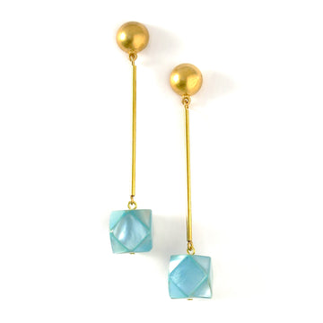 Azzurra Earrings are stud earrings with cool blue mother of pearl beads that hang below elongated rods