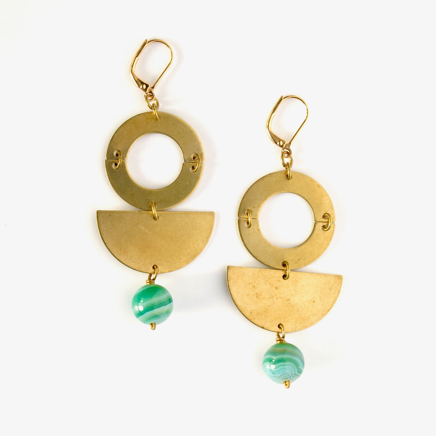 Berg Earrings by MoonRox Jewellery & Accessories - modern geometric dangly earrings inspired by MasterChef Canada Winner Mary Berg. Shown in green agate.