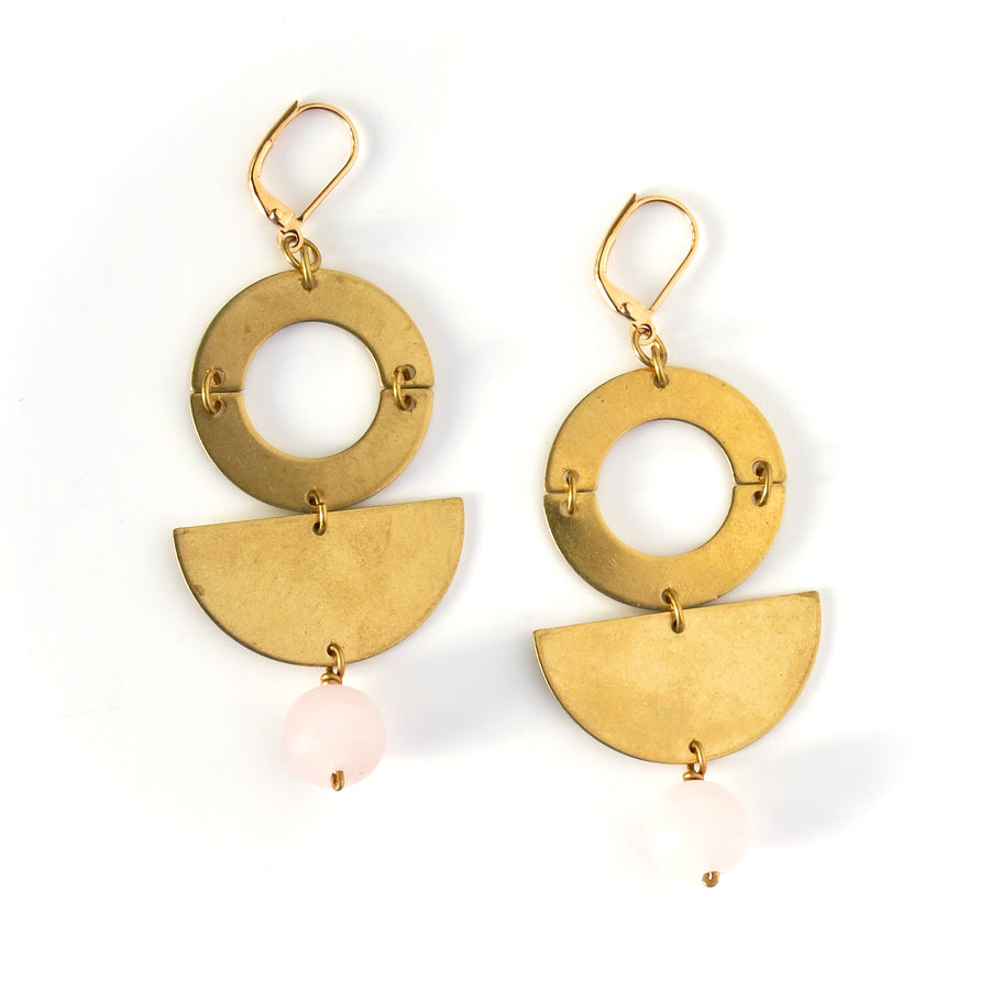 Berg Earrings by MoonRox Jewellery & Accessories - modern geometric dangly earrings inspired by MasterChef Canada Winner Mary Berg. Shown in rose quartz.