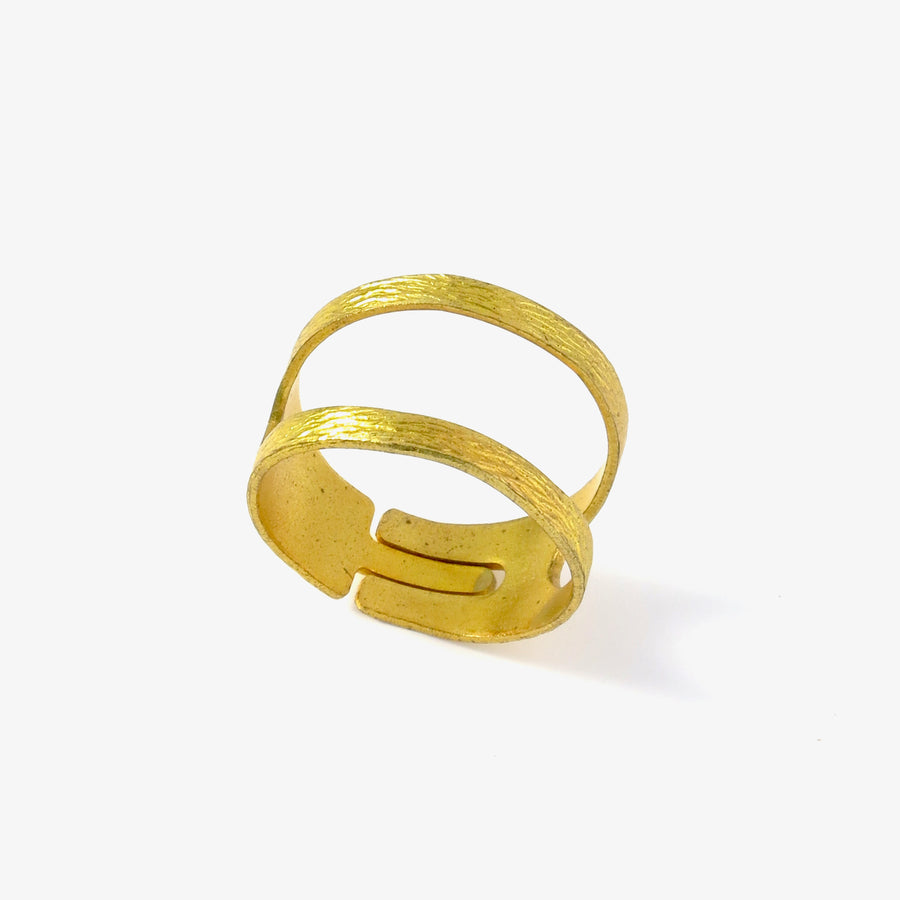 Birch Ring - adjustable brass ring with two bands on top.