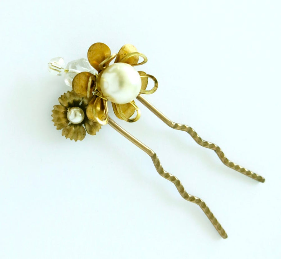 Blossoming Hair Pin by MoonRox Jewellery & Accessories - crystal, pearl and brass hair adornment for wedding or every day!