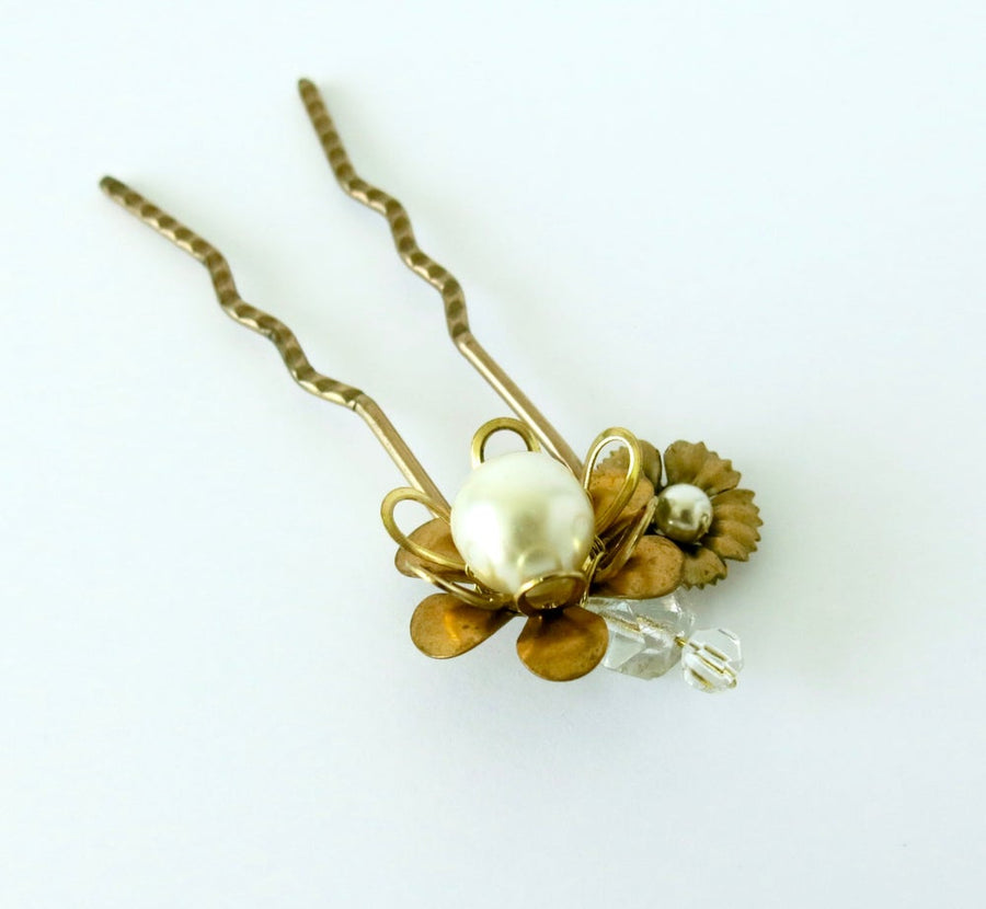 Blossoming Hair Pin by MoonRox Jewellery & Accessories - crystal, pearl, brass hair adornment for wedding or every day!
