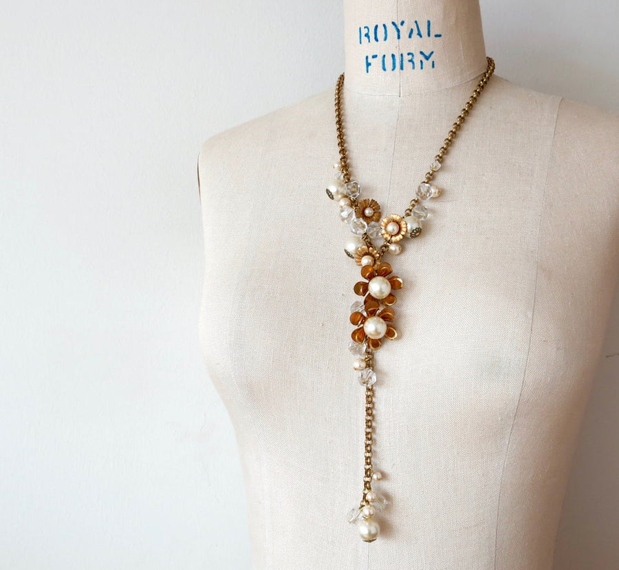Blossoming Necklace by MoonRox Jewellery & Accessories - floral lariat style necklace with brass, crystal and pearl
