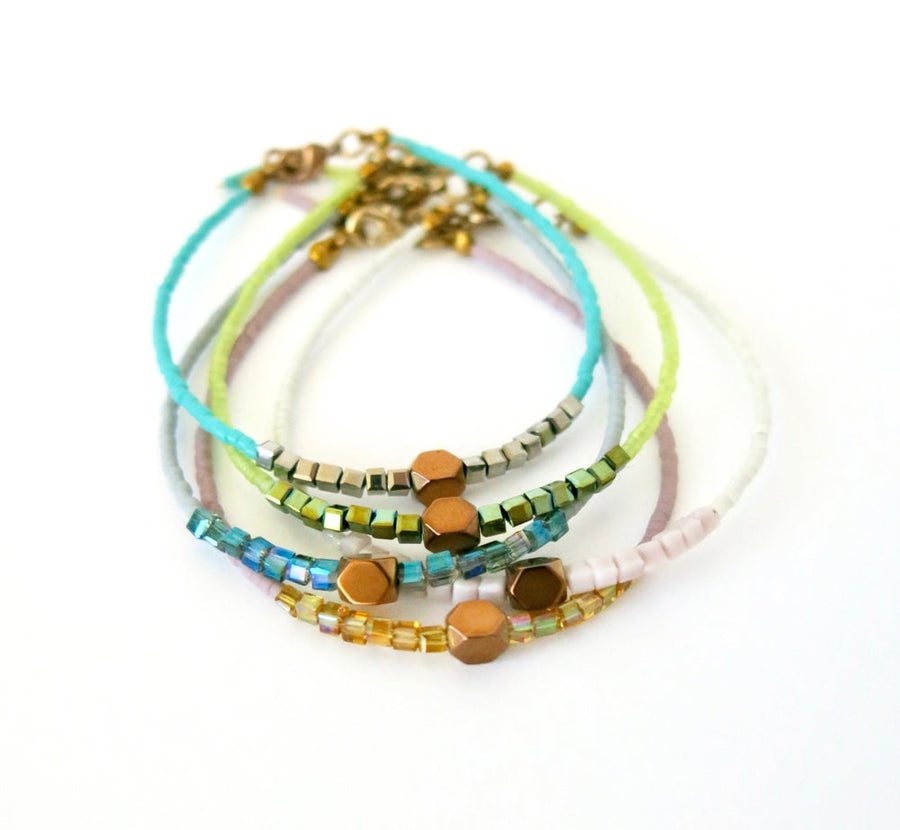 Breezy Bracelet by MoonRox Jewellery & Accessories - delicate beaded bracelet in 5 colours - made in Toronto, Canada