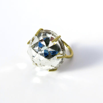 Bright Star Ring is made with faceted glass dome with mirrored finish