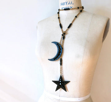 Celestial Lariat by MoonRox Jewellery & Accessories - make a statement with this bold star and moon lariat necklace