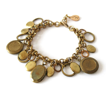 Cherish Locket Bracelet by MoonRox Jewellery & Accessories - charm bracelet featuring lots of vintage brass lockets with loops