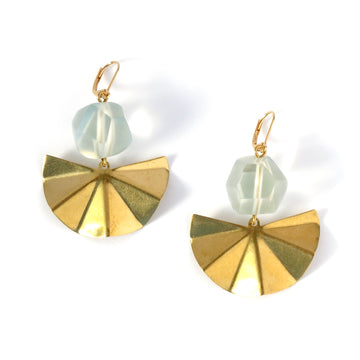 Concertina Earrings by MoonRox feature faceted and frosty acrylic beads above pleated fan shaped brass charms.