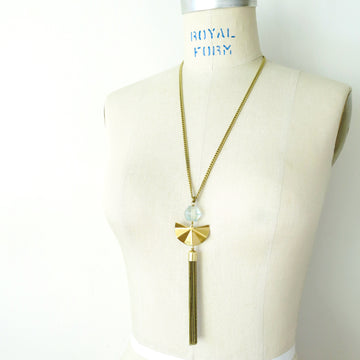 Concertina Necklace by MoonRox with tassel and brass pendant.