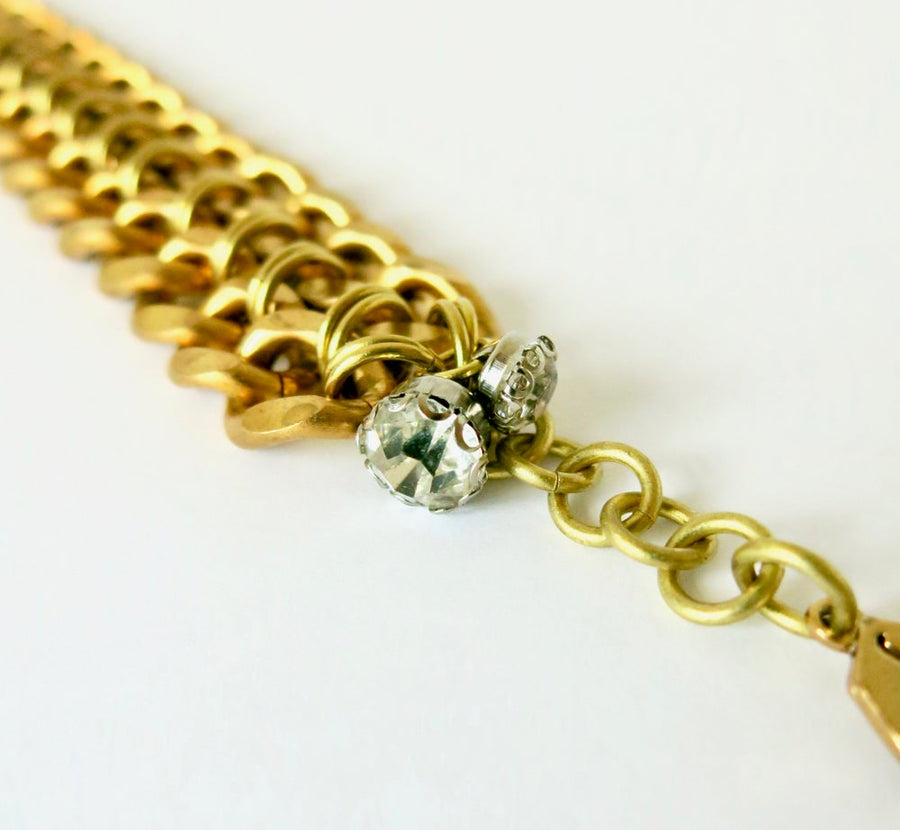 Connected Bracelet by MoonRox Jewellery & Accessories - bold brass chain bracelet with crystal charm - jewellery jewelry made in Toronto, Canada