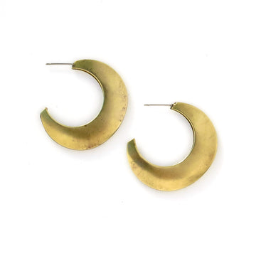 Large Crescent Earrings and vintage brass moon shaped earrings.