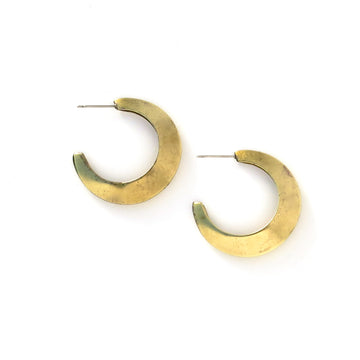 Crescent Stud Earrings - moon shaped vintage brass earrings.
