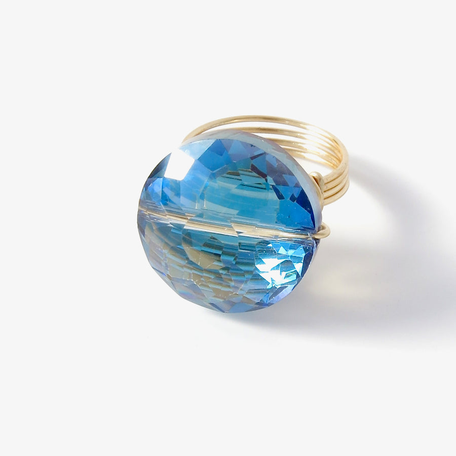 Crystal Bauble Ring by MoonRox Jewellery & Accessories - hand formed wire statement ring in shiny blue