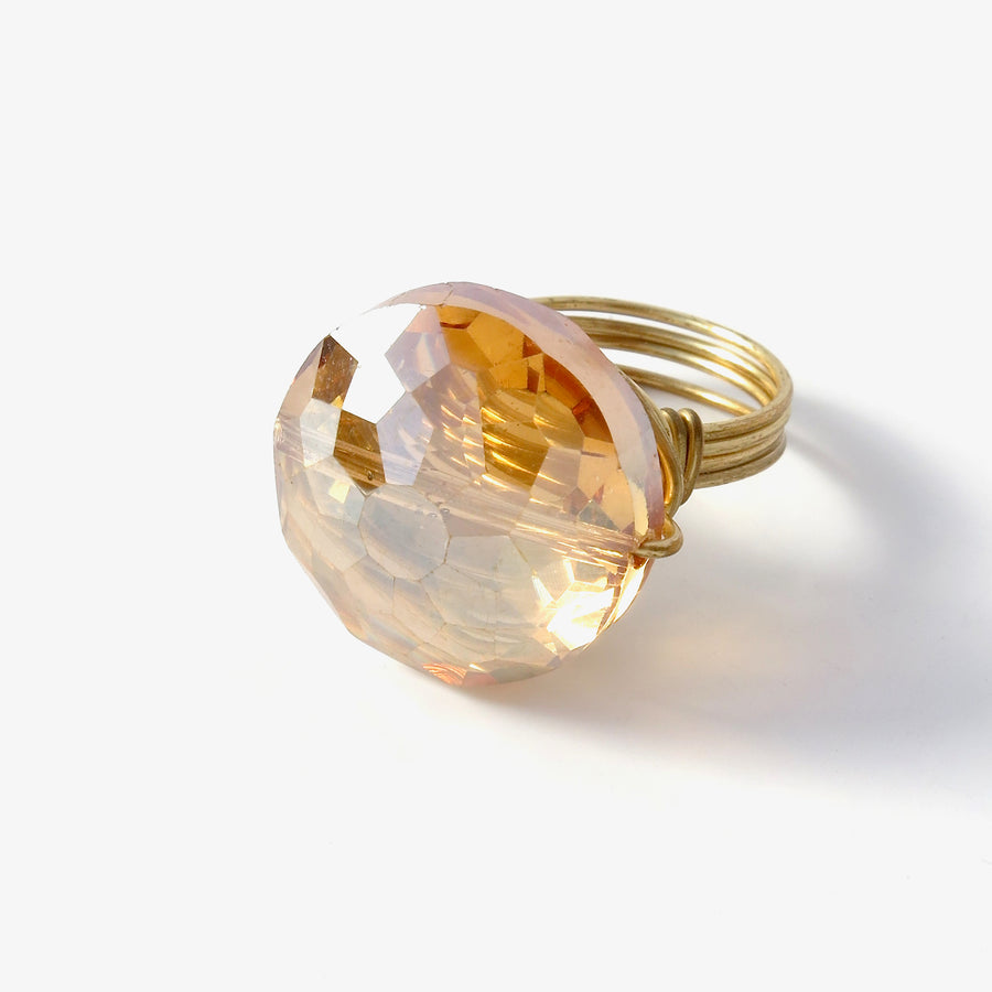 Crystal Bauble Ring by MoonRox - hand formed wire statement ring in peachy blush colour.