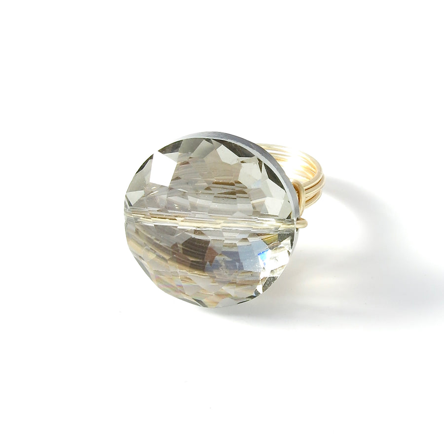 Crystal Bauble Ring is a hand formed wire statement ring. Made in Toronto, Canada.