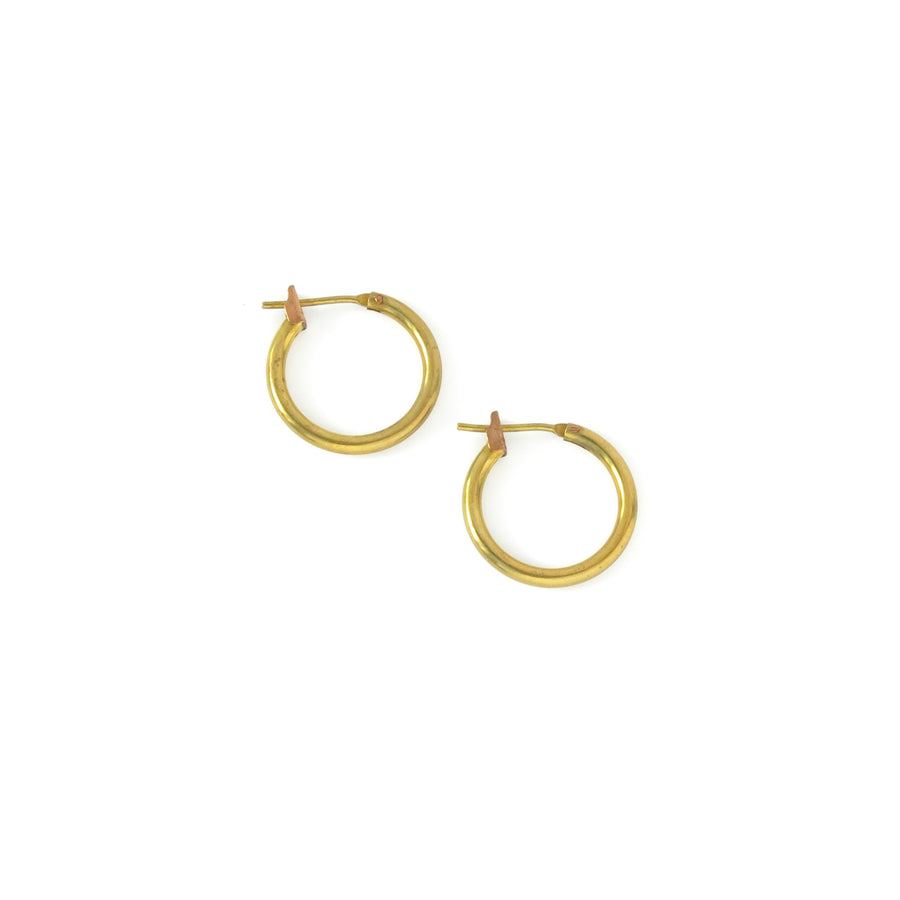 Cycle Hoops are vintage brass earrings.