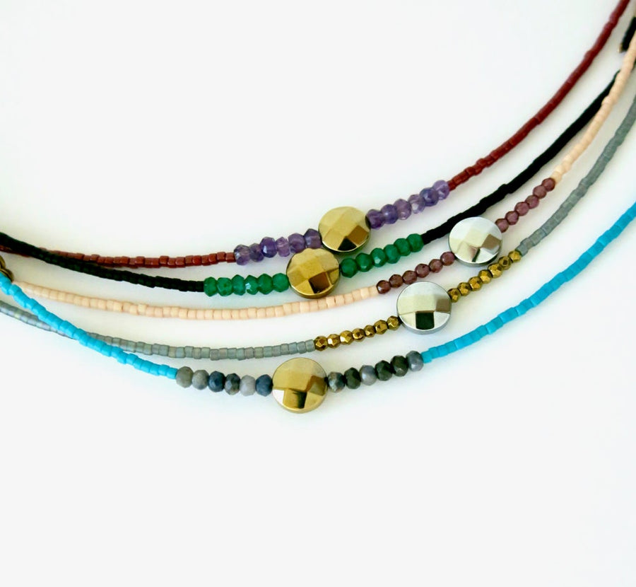Five available colours for the Darling Bracelet by MoonRox Jewellery & Accessories - hand strung delicate Japanese glass bead and semi-precious stone bracelet