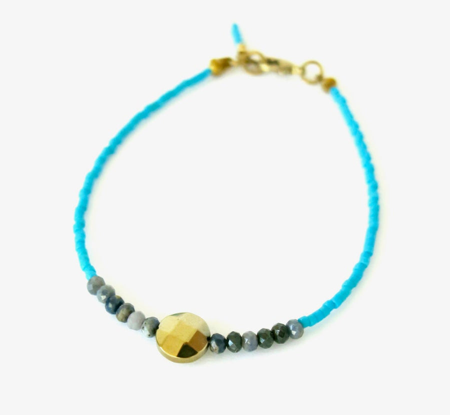 Darling Bracelet by MoonRox Jewellery & Accessories - hand strung delicate Japanese glass beads in turquoise with sapphire and coated hematite