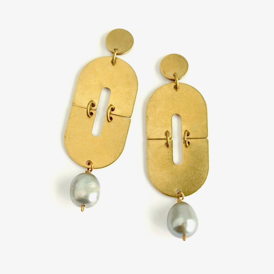 Daydream Stud Earrings by MoonRox Jewellery & Accessories - on trend studs with silver grey freshwater pearls and geometric brass forms