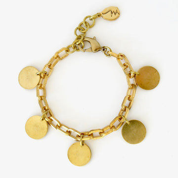 Divine Bracelet by MoonRox Jewellery & Accessories - brass chain charm bracelet with 5 round disc charms