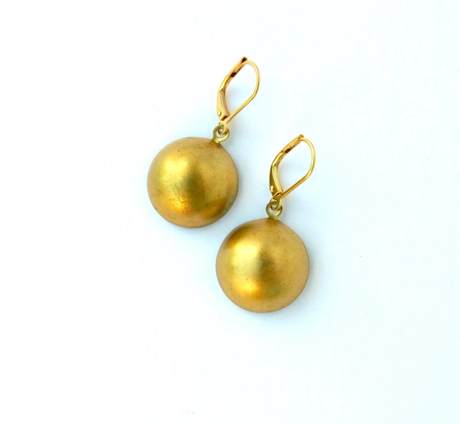 Large Dome Earrings by MoonRox Jewellery & Accessories - lightweight brass three-dimensional charm earrings