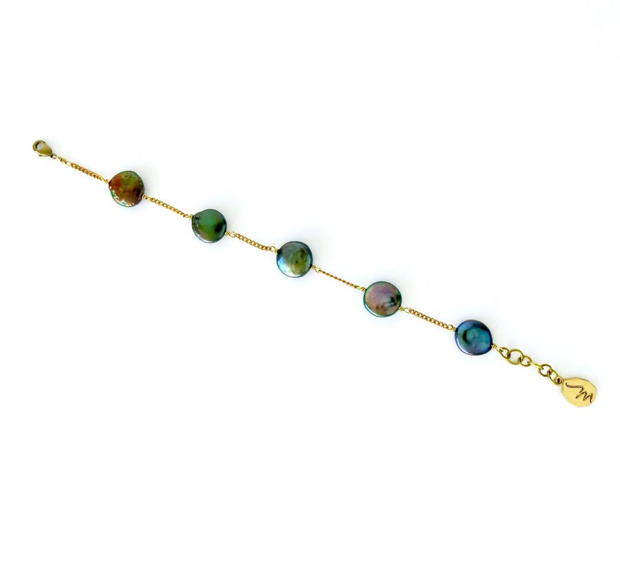 Dot to Dot Pearl Bracelet with five freshwater pearl discs in Oil Slick. Pearls are spaced along fine chain.
