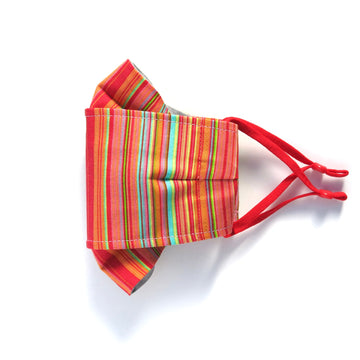 Bright stripes Folded Non-Surgical Reusable Fabric Mask with adjustable ear loops. Made with three layers in central panel. Handmade in Toronto, Canada.