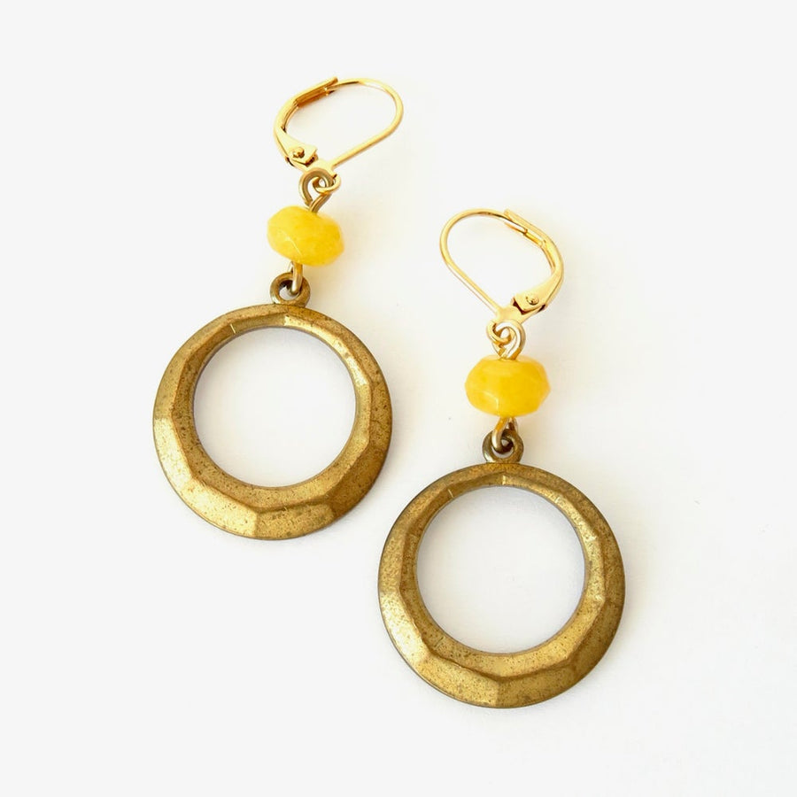 Embrace Earrings by MoonRox Jewellery & Accessories - butter jade stones wired to faceted brass charms