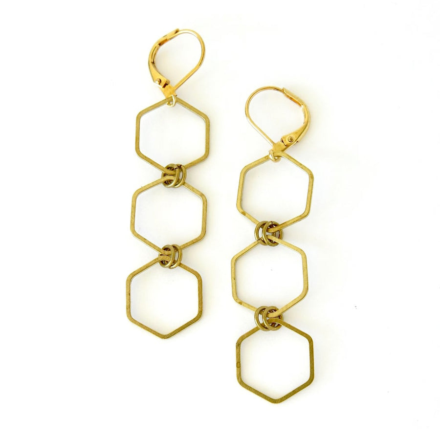 Encore Earrings by MoonRox Jewellery & Accessories - 3 brass hexagons linked together to form dangly earrings