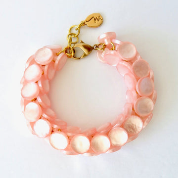 Equinox Bracelet by MoonRox Jewellery & Accessories - chunky bracelet with pearly lucite in Pink Paradise
