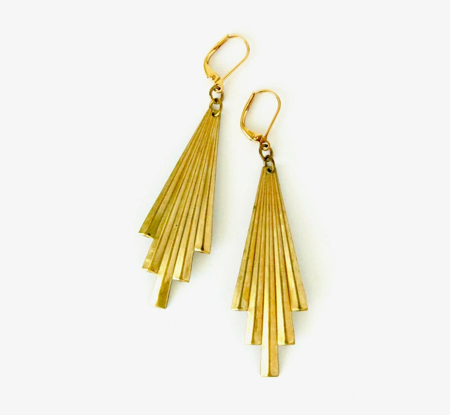 Explosion Earrings by MoonRox Jewellery & Accessories - graphic deco inspired brass dangly earrings