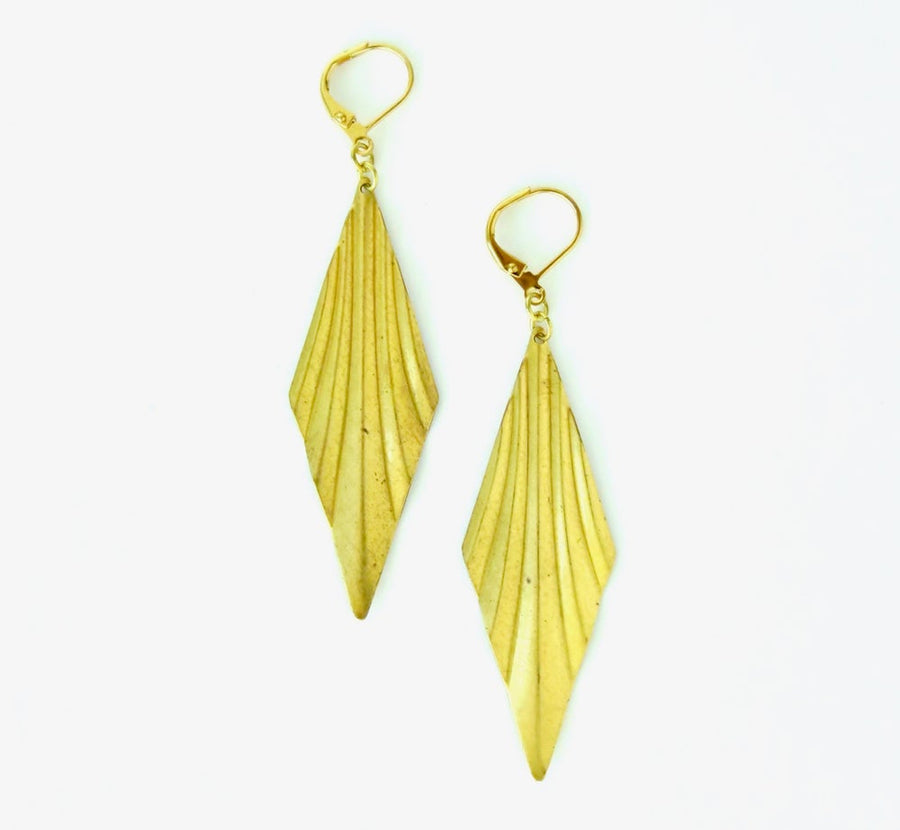 Exuberant Earrings by MoonRox Jewellery & Accessories - brass dangly earrings with light catching folds