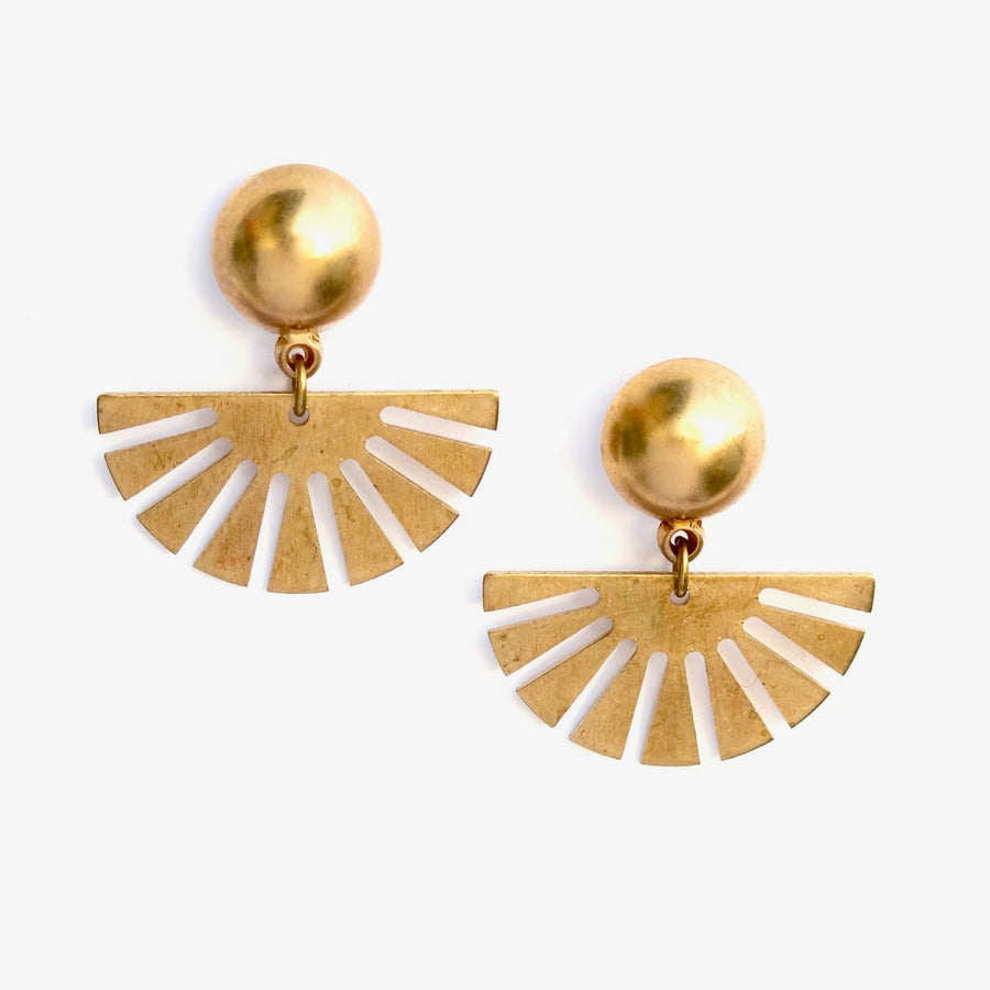 Fandango Stud Earrings by MoonRox Jewellery & Accessories - Trendy studs with radiating brass charms