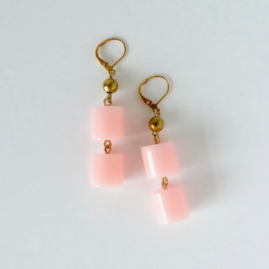 Feeling Flushed Earrings by MoonRox Jewellery & Accessories - soft pink acrylic and brass bead dangly earrings