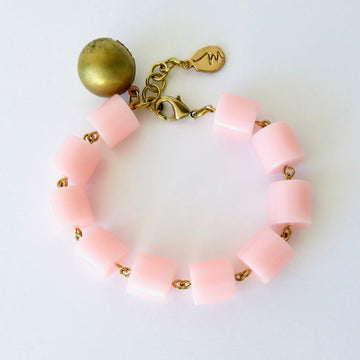 Feeling Flushed Bracelet by MoonRox Jewellery & Accessories - soft pink acrylic and brass ball locket