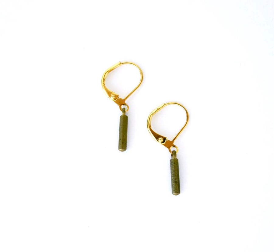 Flint Earrings by MoonRox Jewellery & Accessories - simple brass earrings with small brass rod