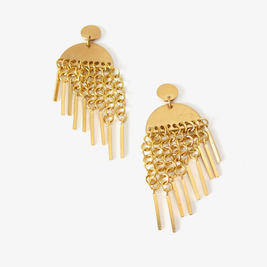 Flourish Earrings by MoonRox Jewellery & Accessories feature cascading brass chain link fringe