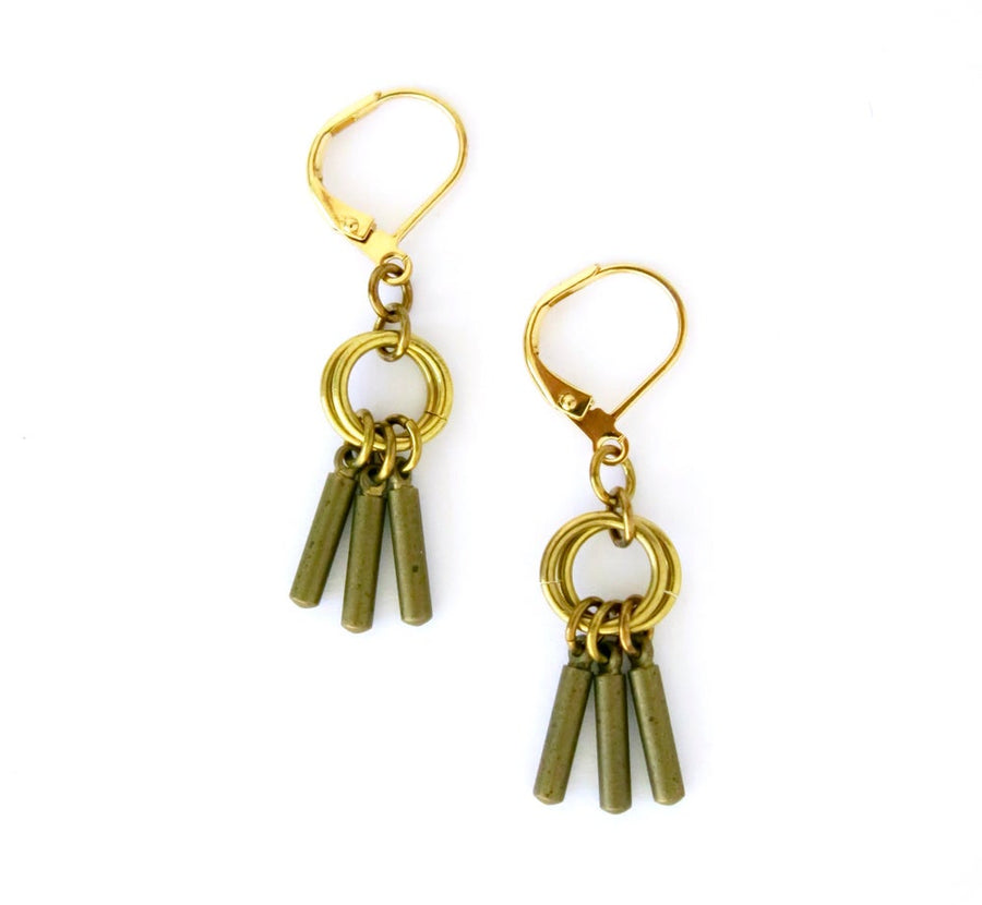 Flutter Earrings by MoonRox - a small cluster earring with a trio of brass rods gathered together