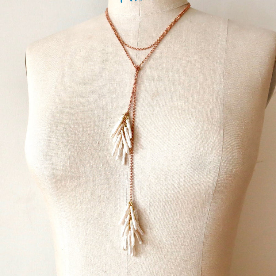 Fortuna Pearl Lariat by MoonRox Jewellery & Accessories - twig like fresh water pearls hang from brass chain. Two ends can be tied to your preferred style.